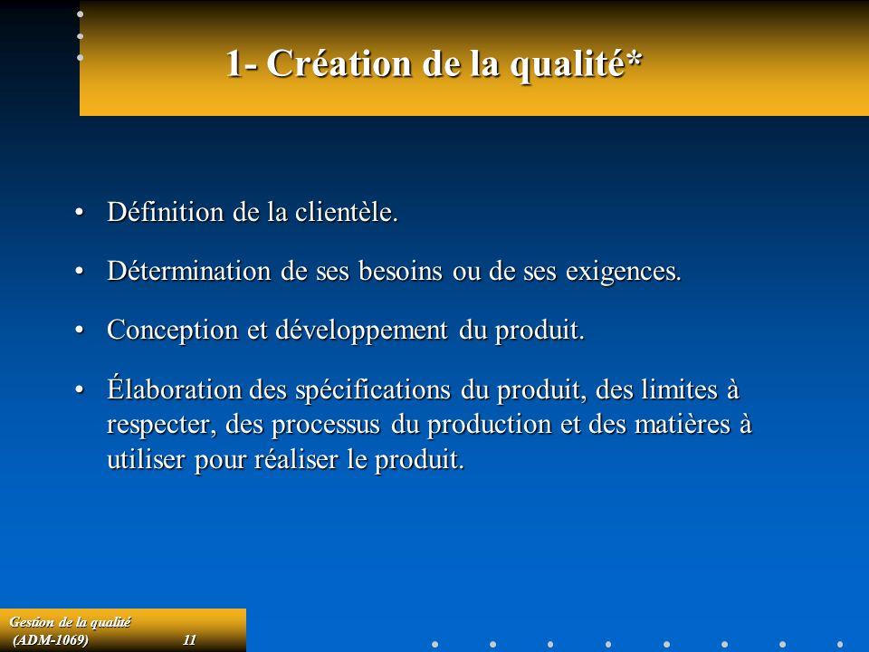 1- Création de la qualité*
