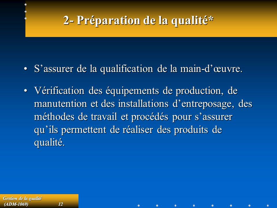 2- Préparation de la qualité*
