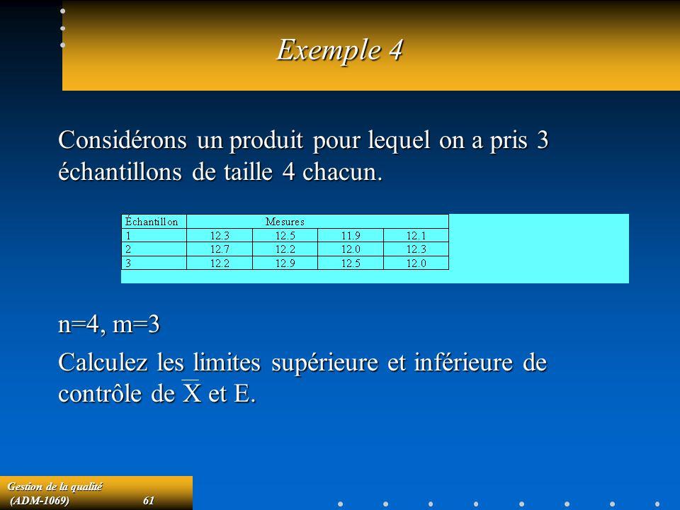 Exemple 4 Considérons un produit pour lequel on a pris 3 échantillons de taille 4 chacun. n=4, m=3.