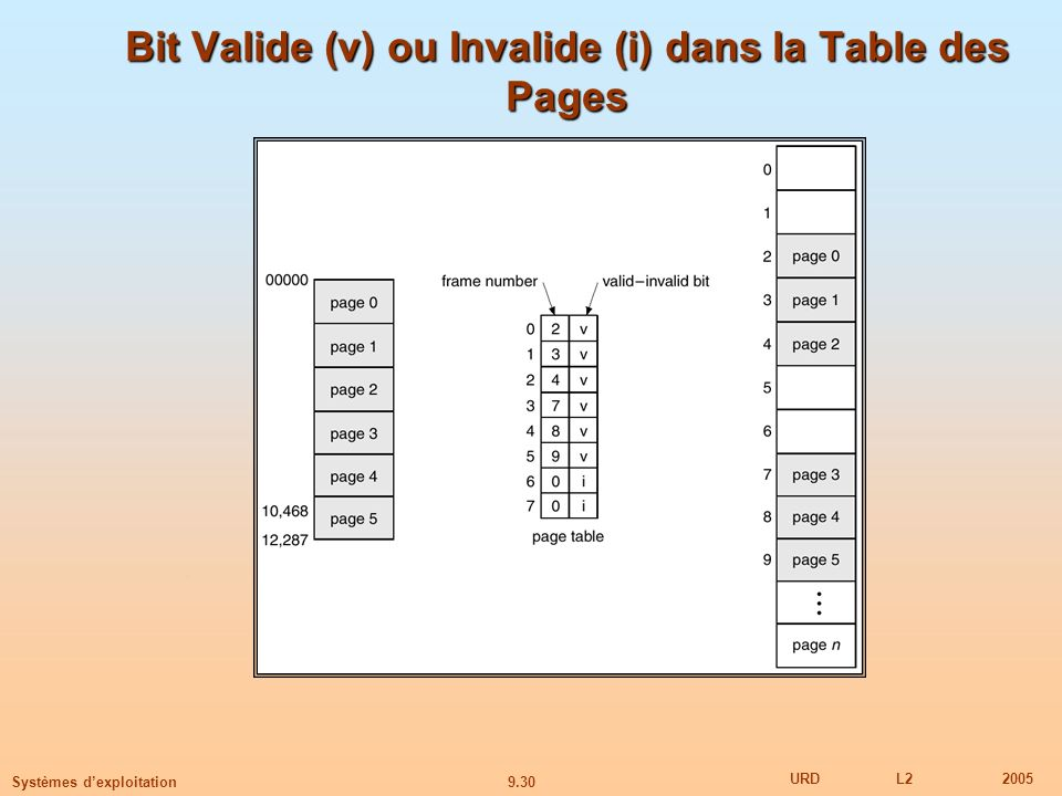 Bit Valide (v) ou Invalide (i) dans la Table des Pages
