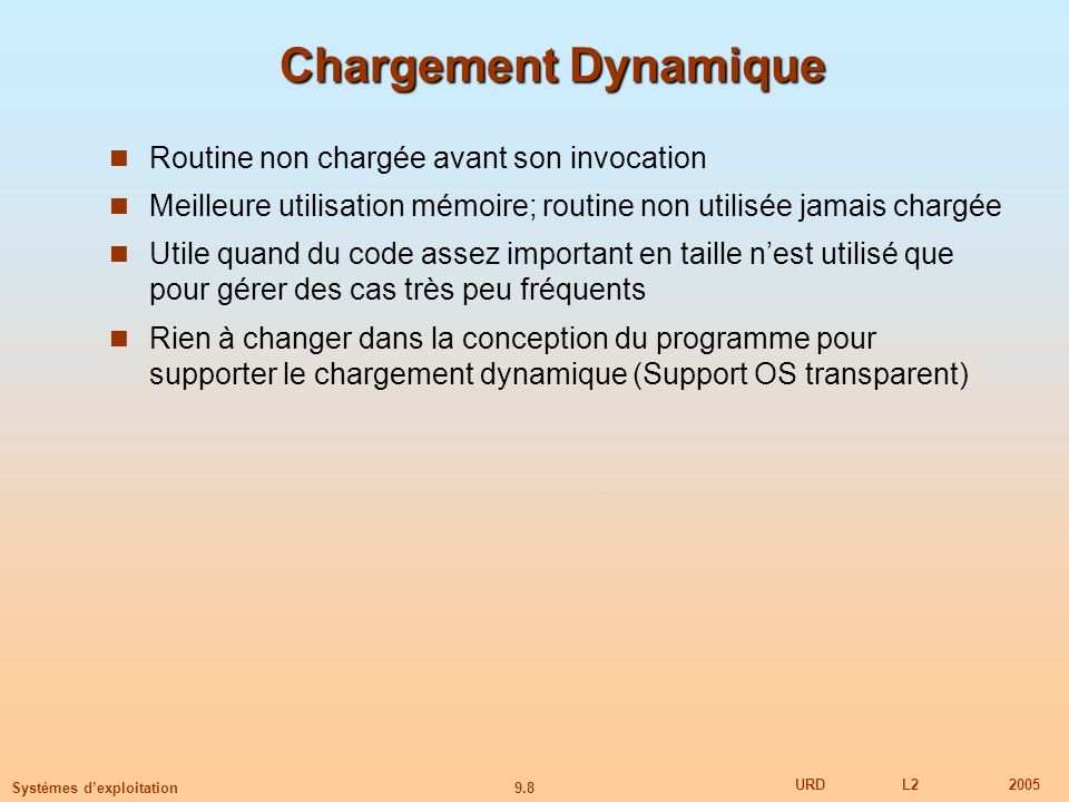 Chargement Dynamique Routine non chargée avant son invocation