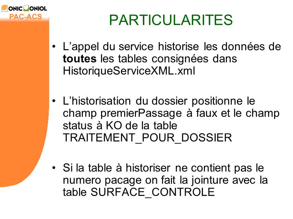 PARTICULARITES L'appel du service historise les données de toutes les tables consignées dans HistoriqueServiceXML.xml.