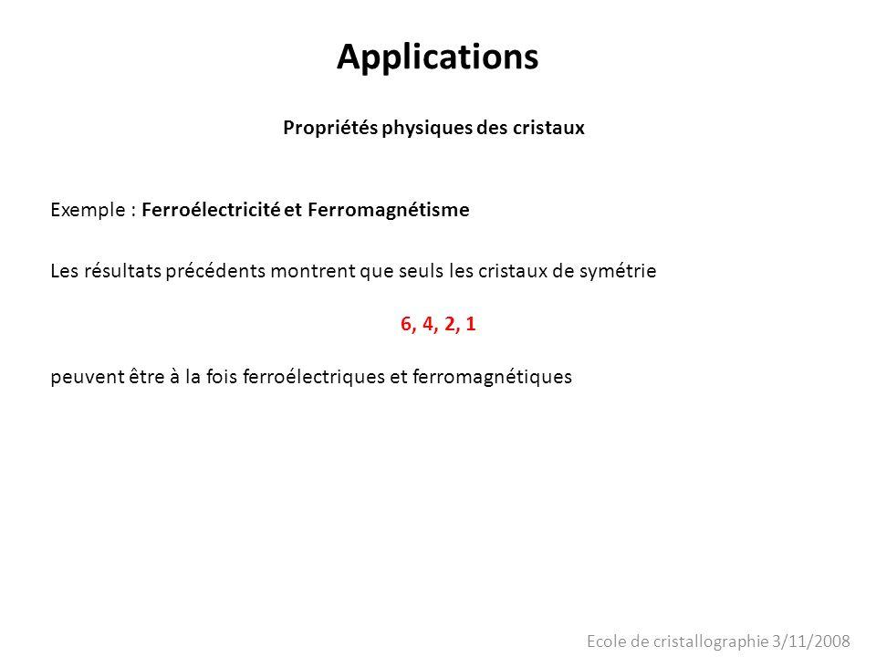 Ecole de cristallographie 3/11/2008