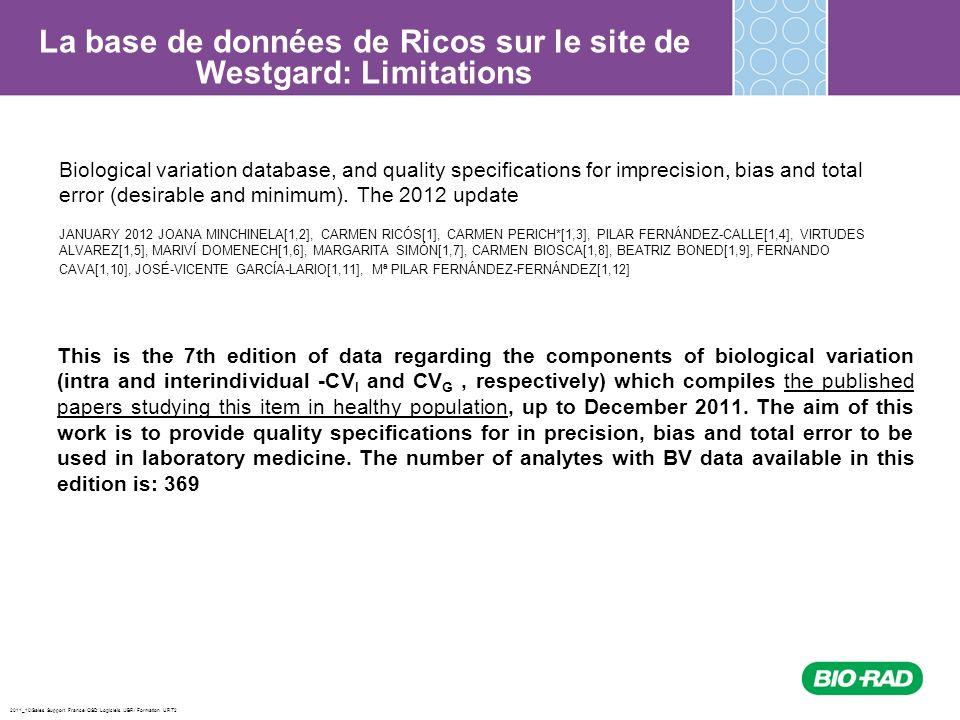 La base de données de Ricos sur le site de Westgard: Limitations