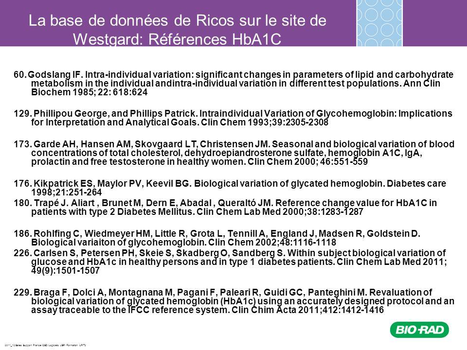 La base de données de Ricos sur le site de Westgard: Références HbA1C