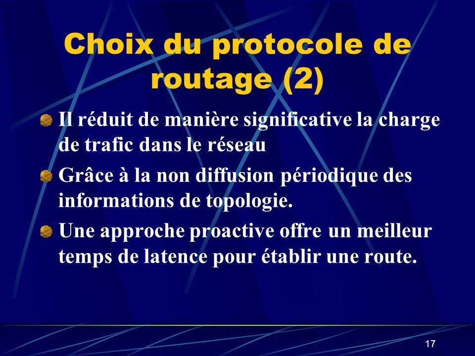 Choix du protocole de routage (2)