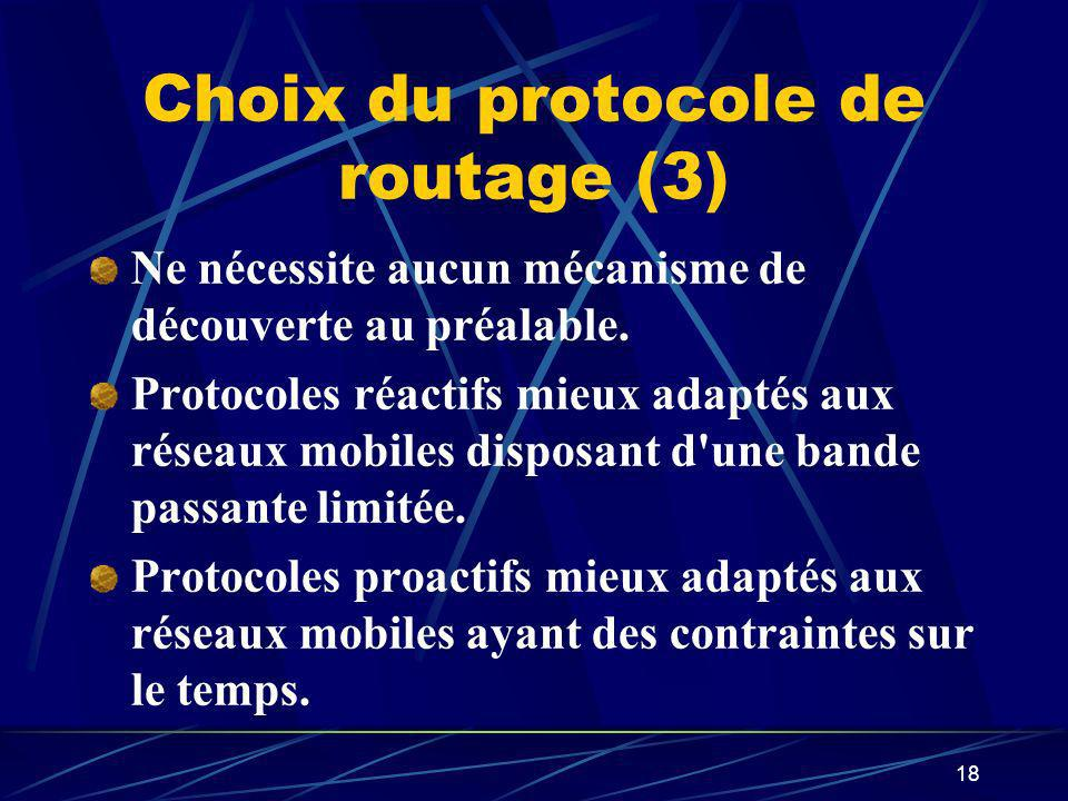 Choix du protocole de routage (3)