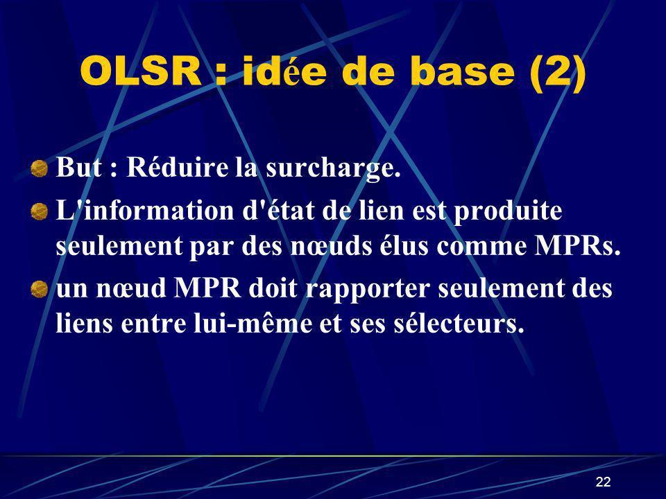 OLSR : idée de base (2) But : Réduire la surcharge.