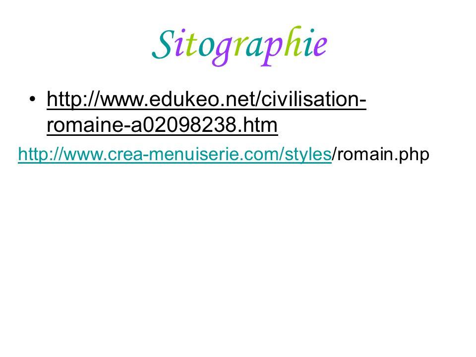Sitographie http://www.edukeo.net/civilisation-romaine-a02098238.htm