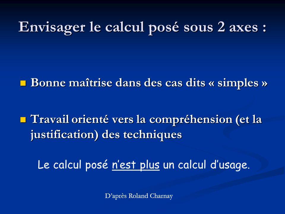 Envisager le calcul posé sous 2 axes :