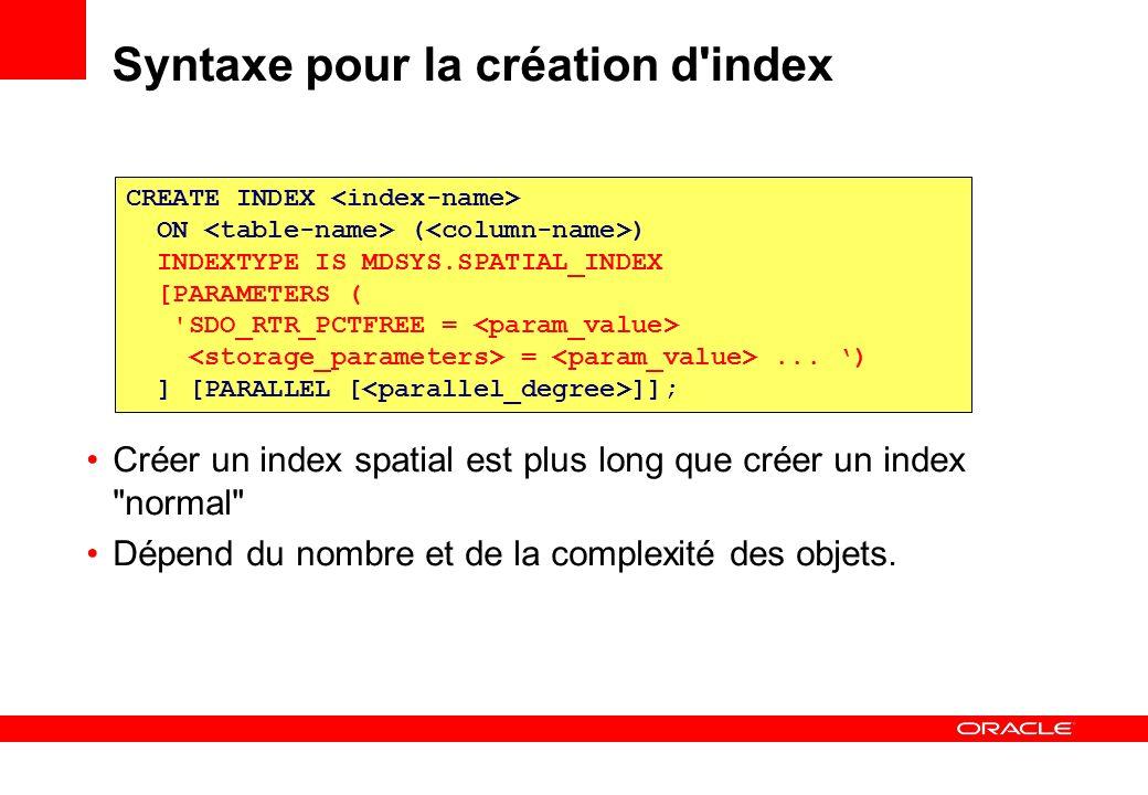 Syntaxe pour la création d index