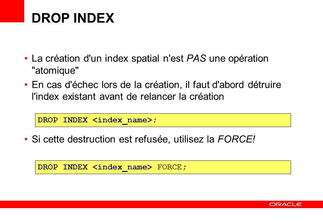 DROP INDEX La création d un index spatial n est PAS une opération atomique