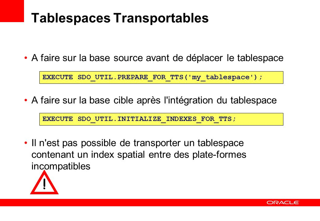 Tablespaces Transportables