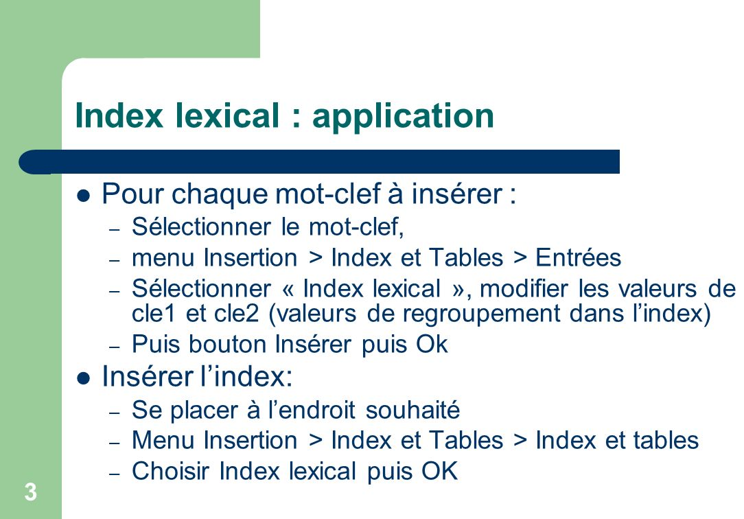Index lexical : application