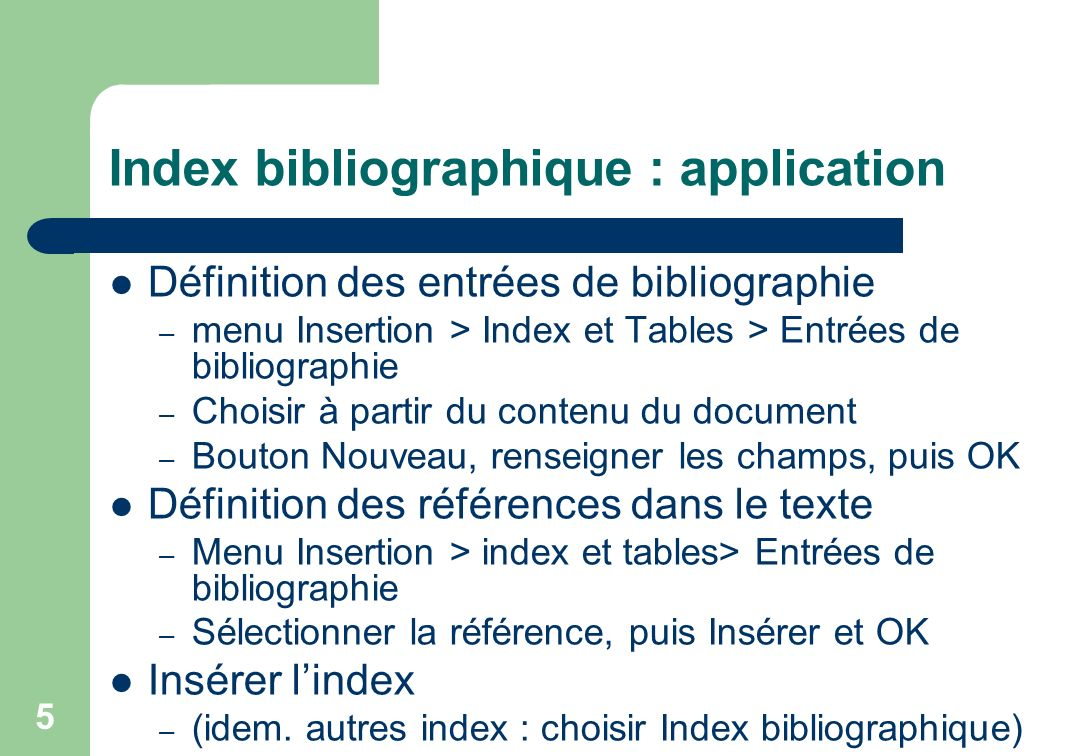 Index bibliographique : application