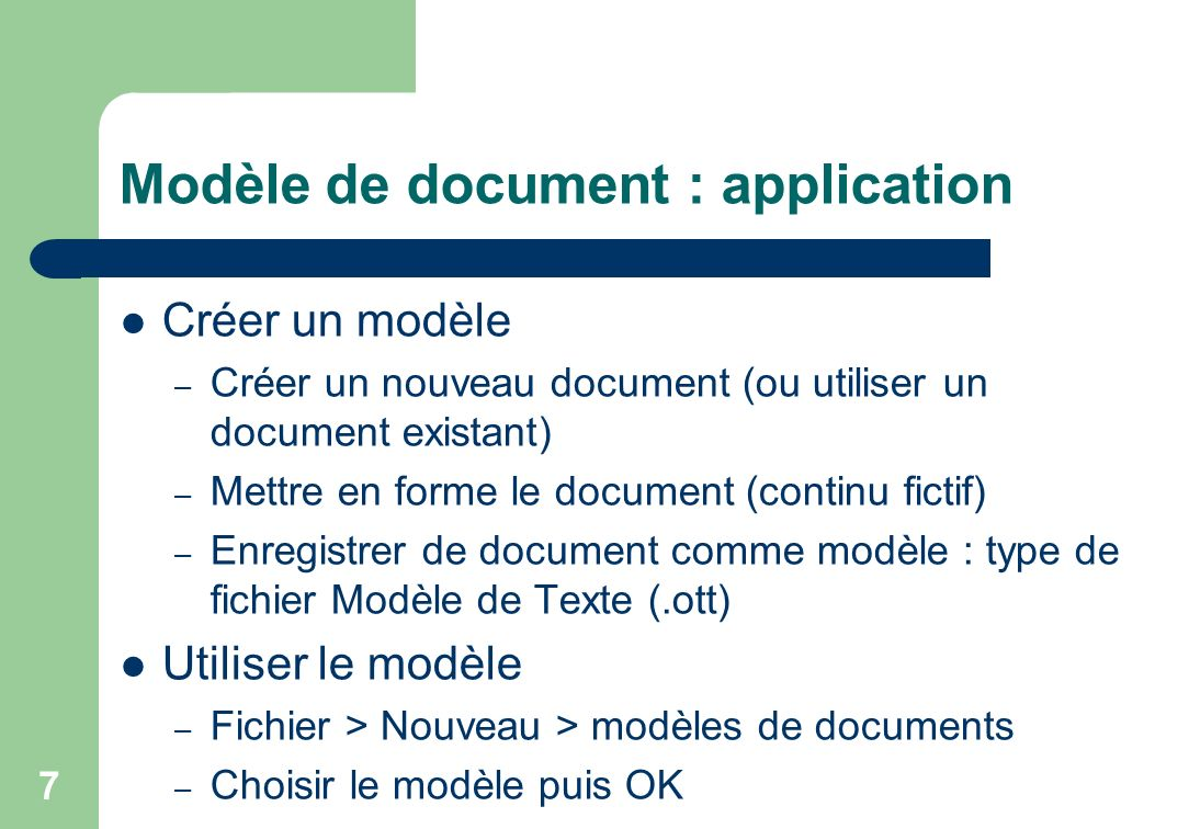 Modèle de document : application