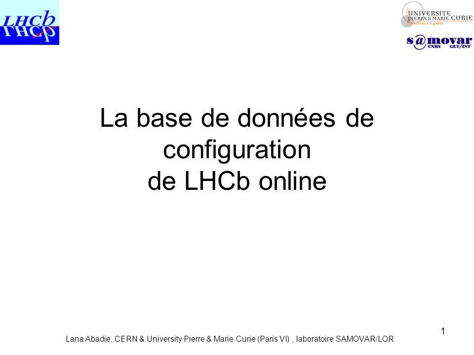 La base de données de configuration de LHCb online