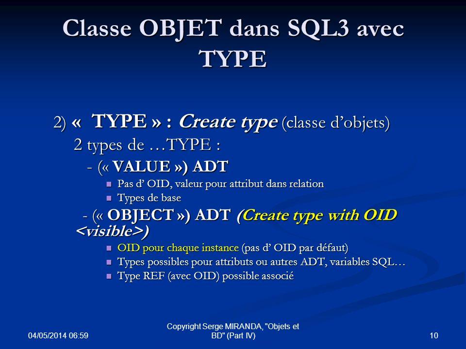 Classe OBJET dans SQL3 avec TYPE