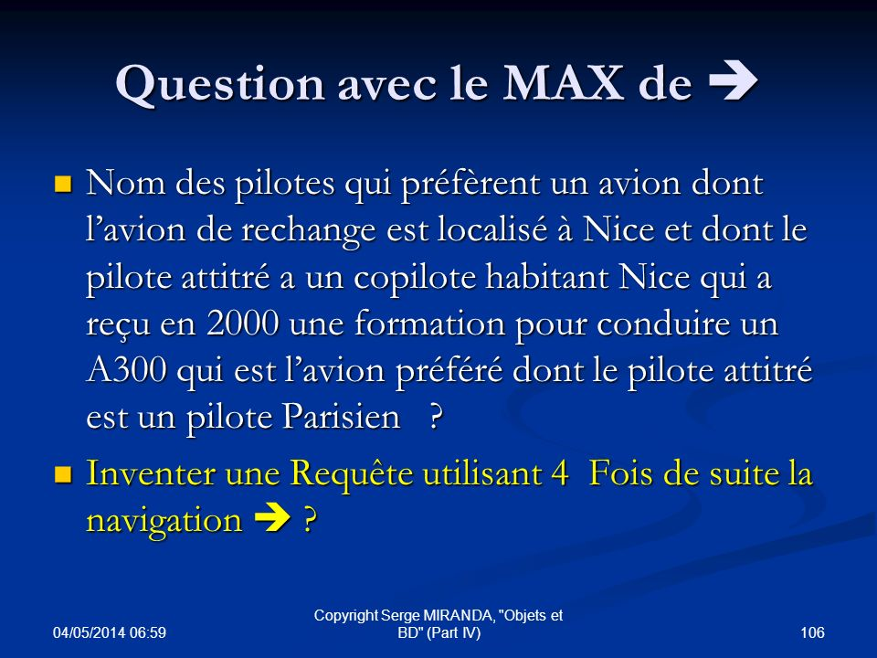 Question avec le MAX de 
