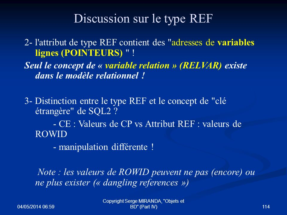 Discussion sur le type REF