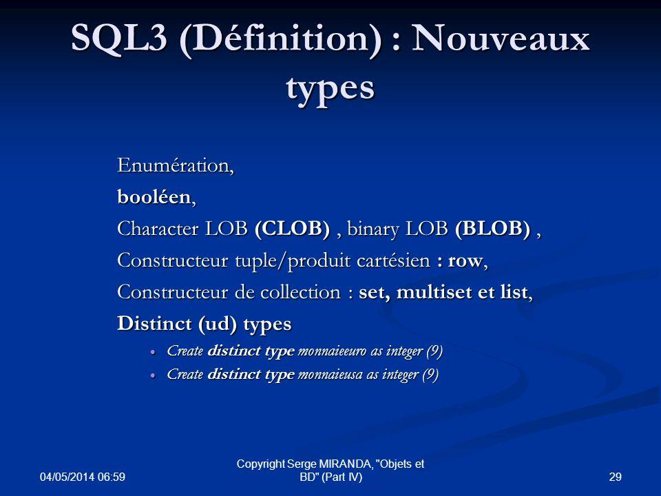 SQL3 (Définition) : Nouveaux types