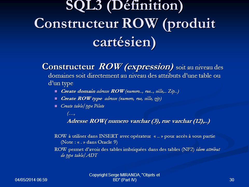 SQL3 (Définition) Constructeur ROW (produit cartésien)
