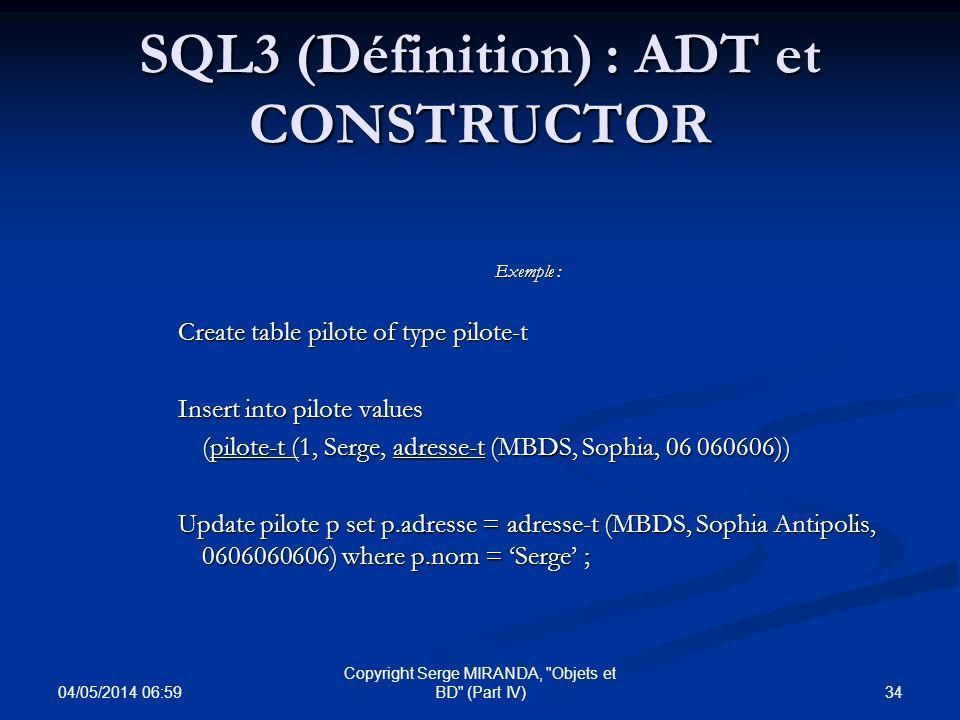 SQL3 (Définition) : ADT et CONSTRUCTOR