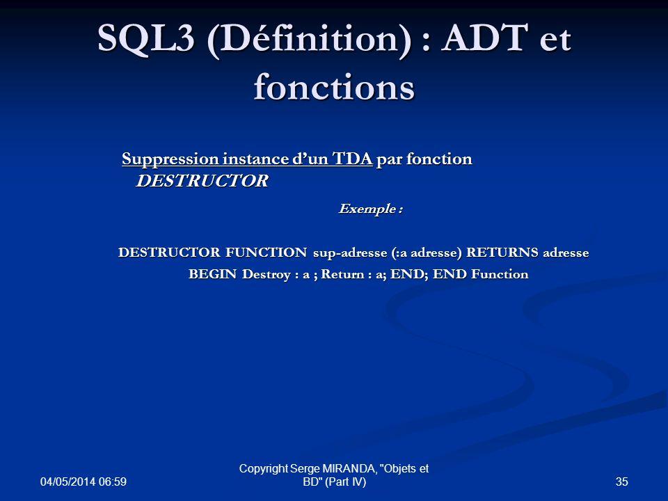 SQL3 (Définition) : ADT et fonctions