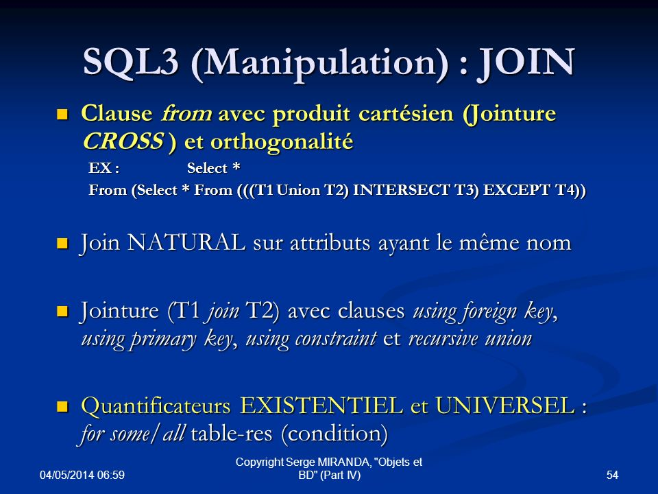 SQL3 (Manipulation) : JOIN