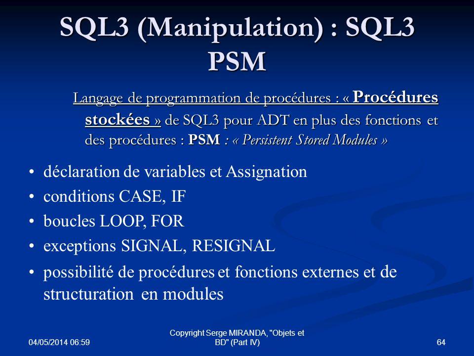 SQL3 (Manipulation) : SQL3 PSM