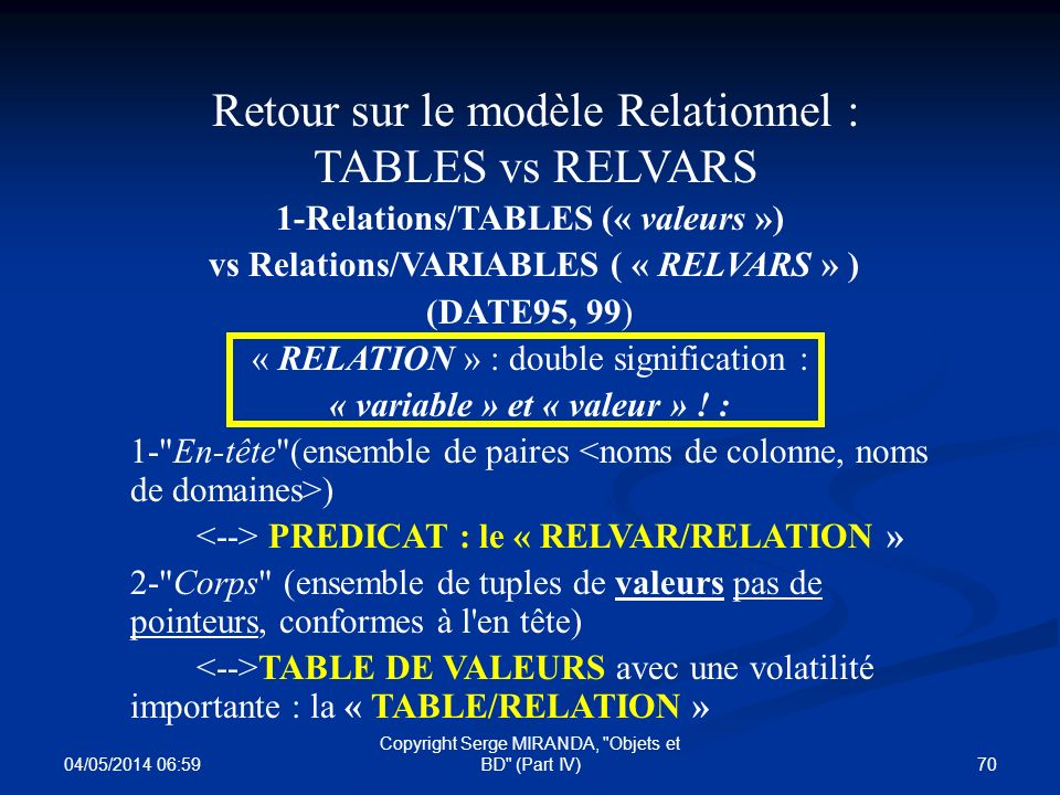 Retour sur le modèle Relationnel : TABLES vs RELVARS