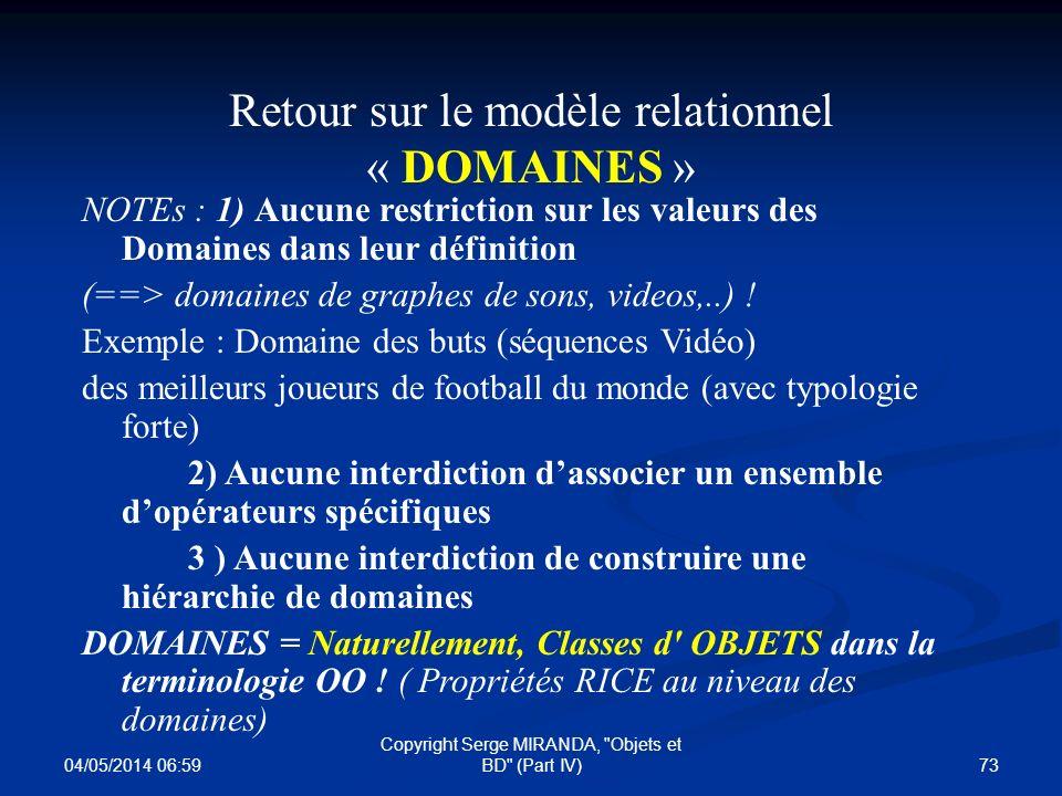 Retour sur le modèle relationnel « DOMAINES »