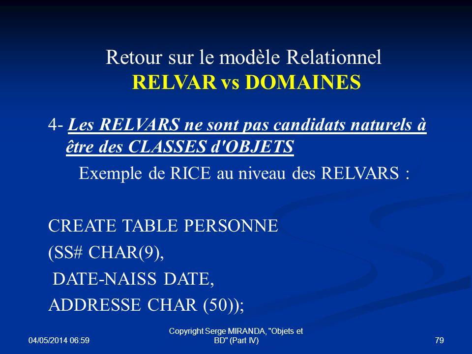 Retour sur le modèle Relationnel RELVAR vs DOMAINES