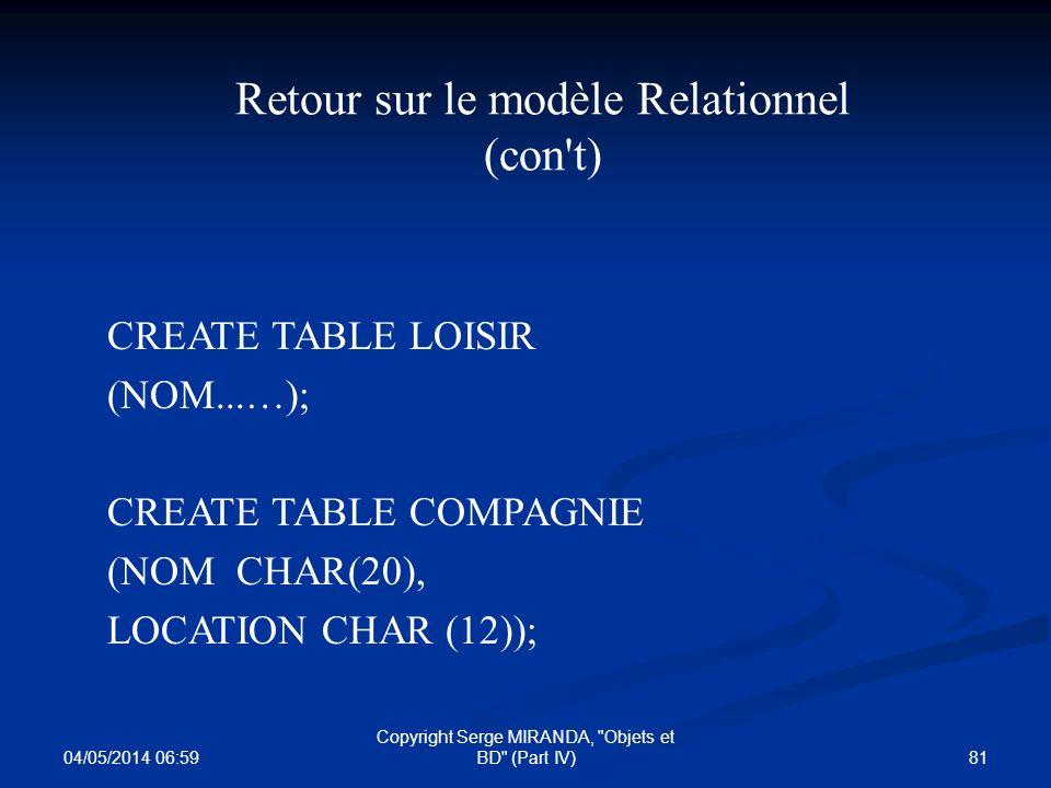 Retour sur le modèle Relationnel (con t)