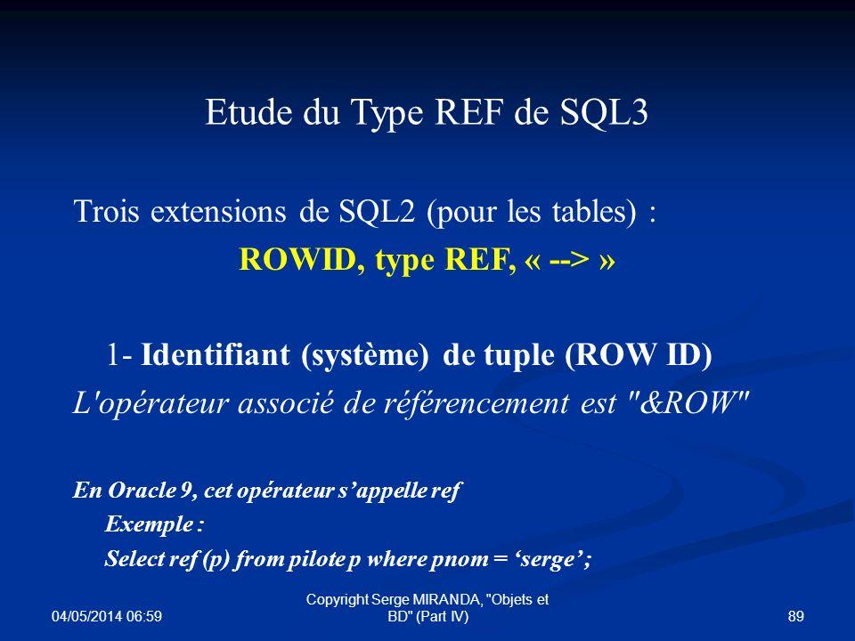 ROWID, type REF, « --> »