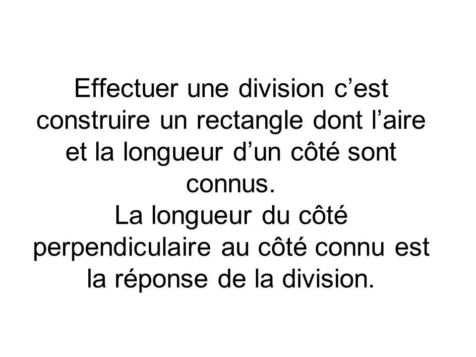 Effectuer une division c'est construire un rectangle dont l'aire et la longueur d'un côté sont connus.