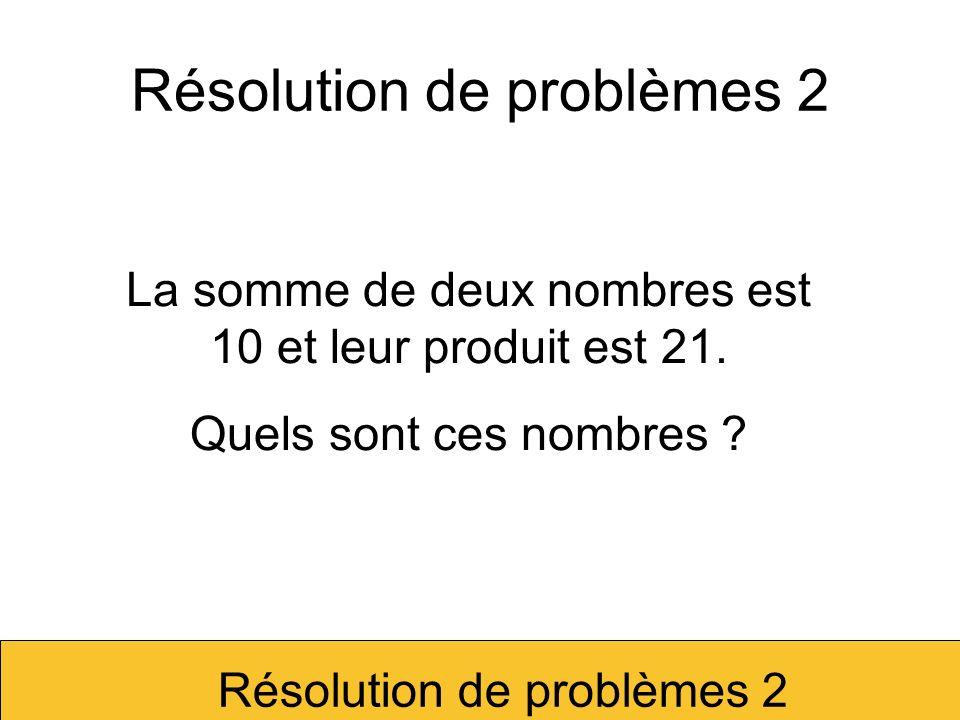 Résolution de problèmes 2
