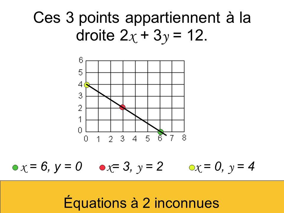 Ces 3 points appartiennent à la droite 2x + 3y = 12.