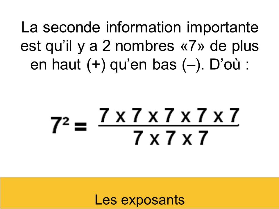 La seconde information importante est qu'il y a 2 nombres «7» de plus en haut (+) qu'en bas (–). D'où :