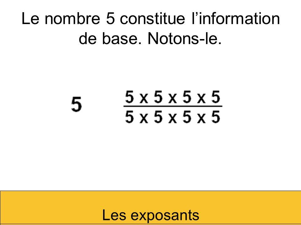 Le nombre 5 constitue l'information de base. Notons-le.