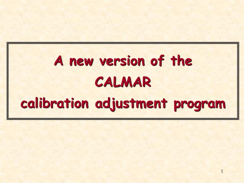 A new version of the CALMAR calibration adjustment program