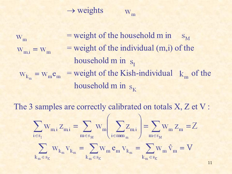  weights = weight of the household m in. = weight of the individual (m,i) of the household m in.