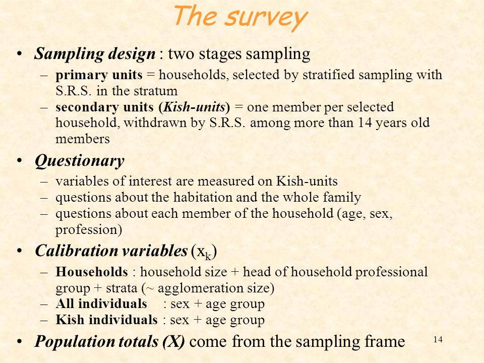 The survey Sampling design : two stages sampling Questionary