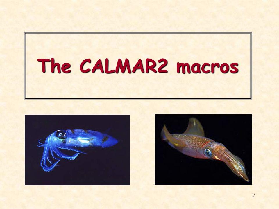 The CALMAR2 macros