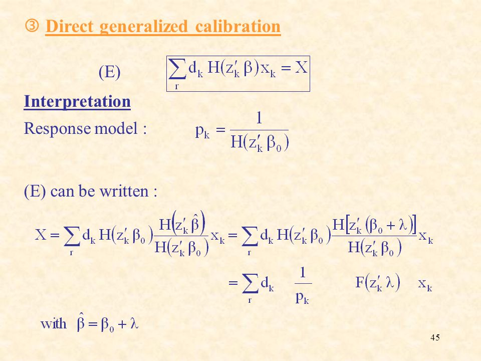  Direct generalized calibration (E)