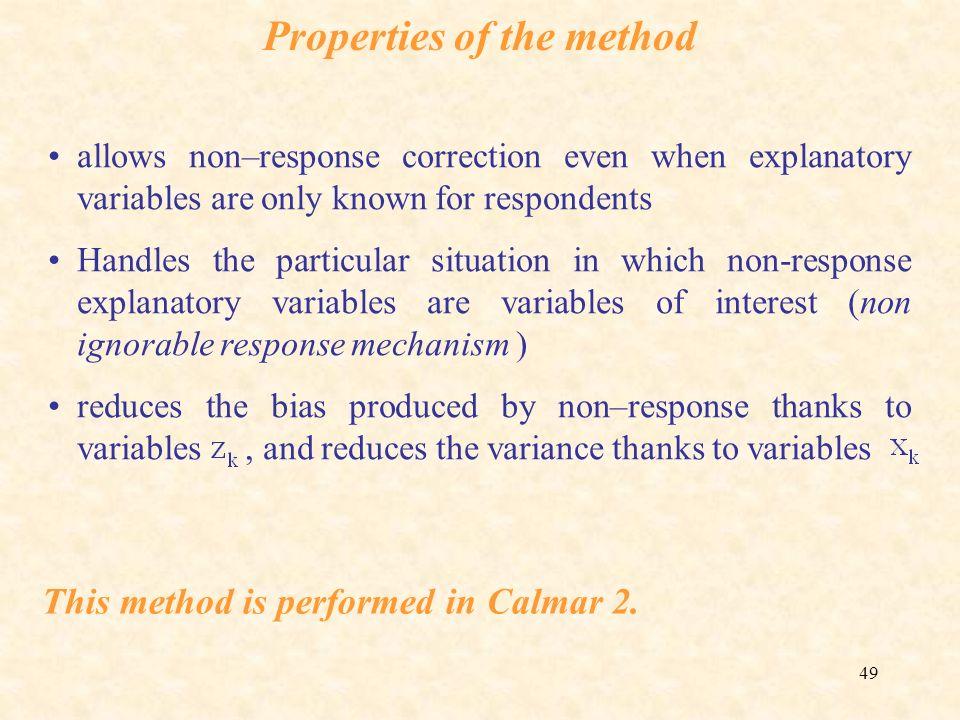 Properties of the method