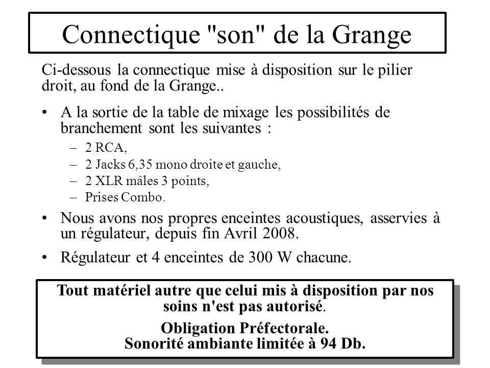 Connectique son de la Grange