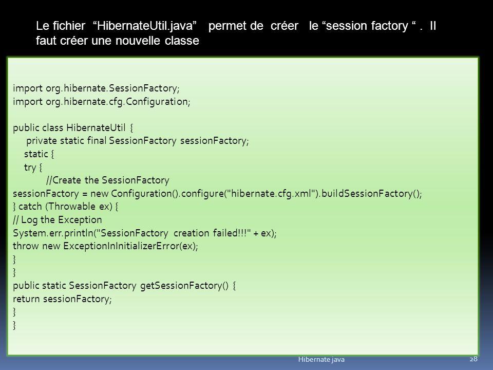 Le fichier HibernateUtil. java permet de créer le session factory