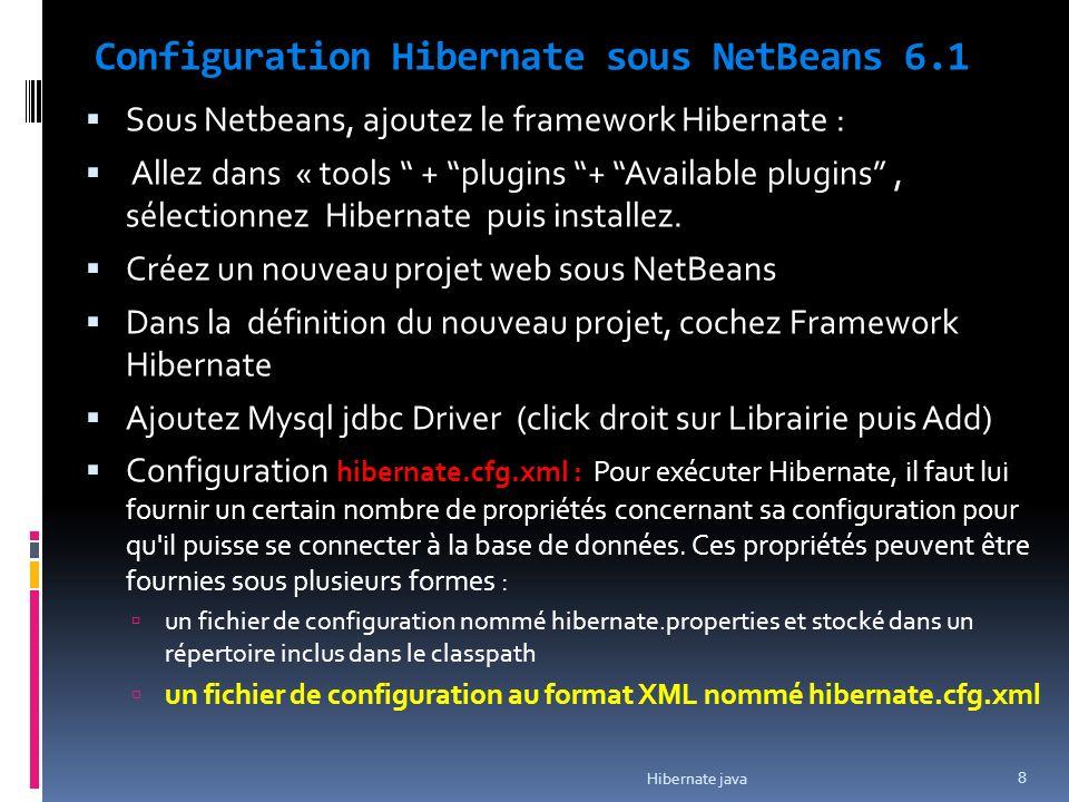 Configuration Hibernate sous NetBeans 6.1