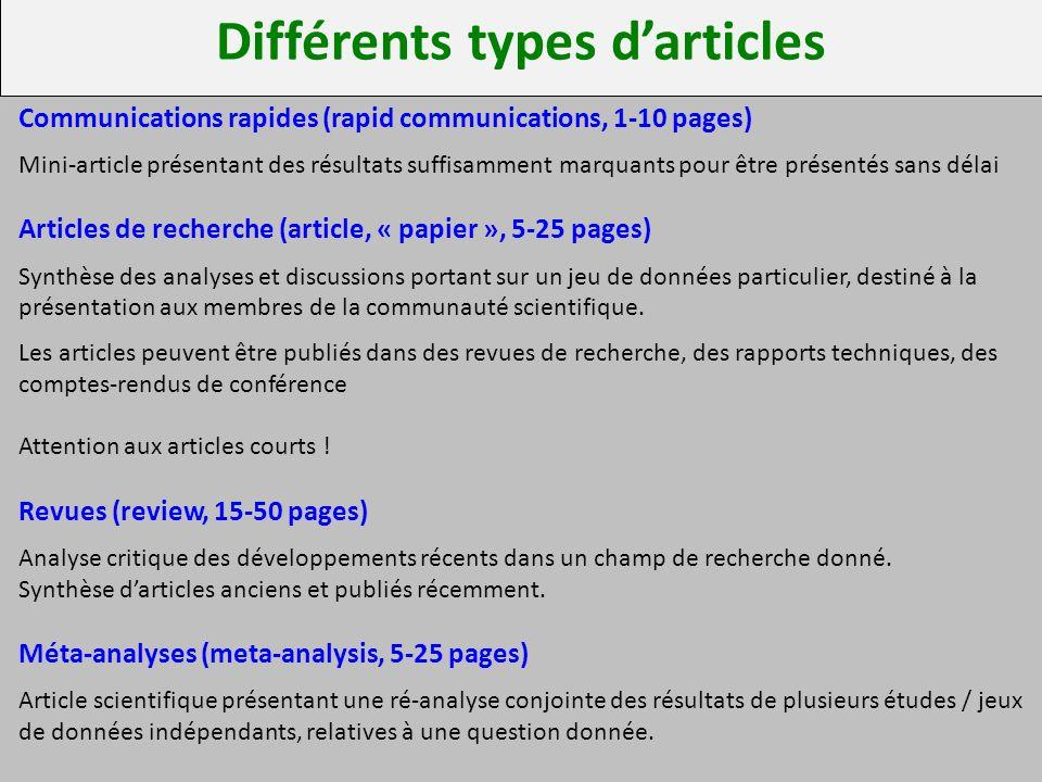 Différents types d'articles